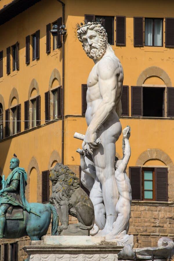 海王星喷泉在佛罗伦萨,广场della Signoria,意大利 免版税库存照片