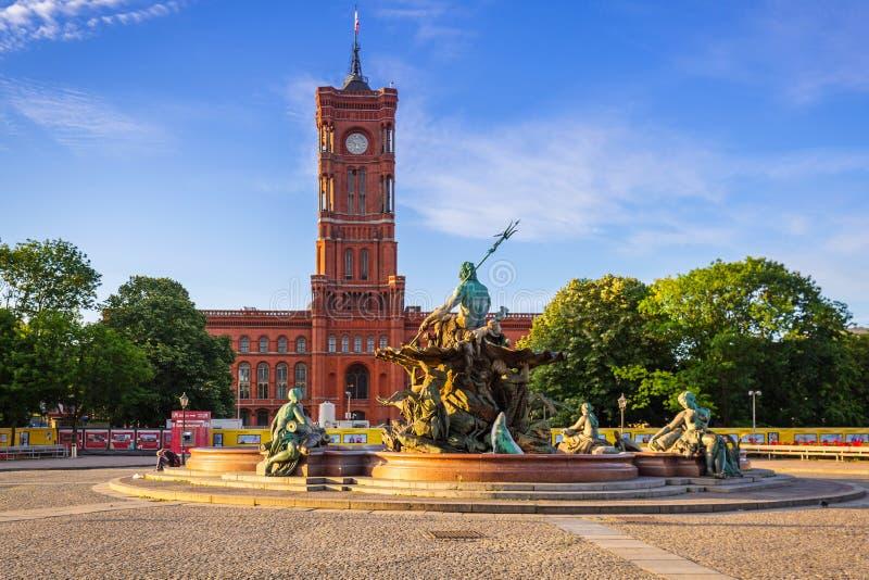 海王星喷泉在柏林 库存照片