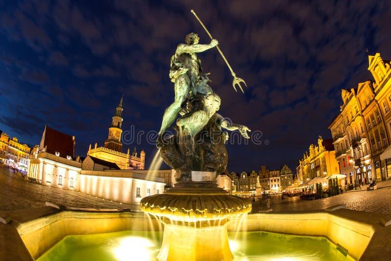 海王星喷泉在波兹南波兰 免版税库存照片