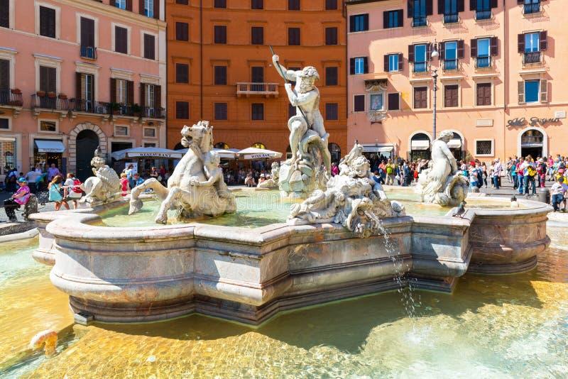 海王星喷泉在纳沃纳广场的在罗马,意大利 库存照片