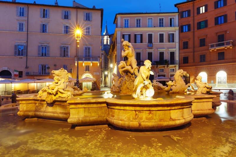 海王星喷泉在纳沃纳广场的,罗马,意大利 免版税库存照片