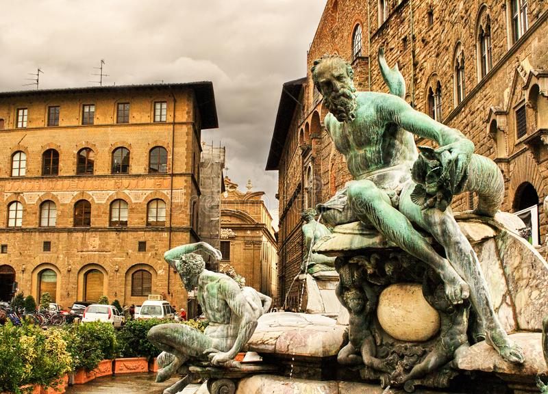 海王星喷泉特写镜头在领主广场在佛罗伦萨,意大利 免版税库存图片