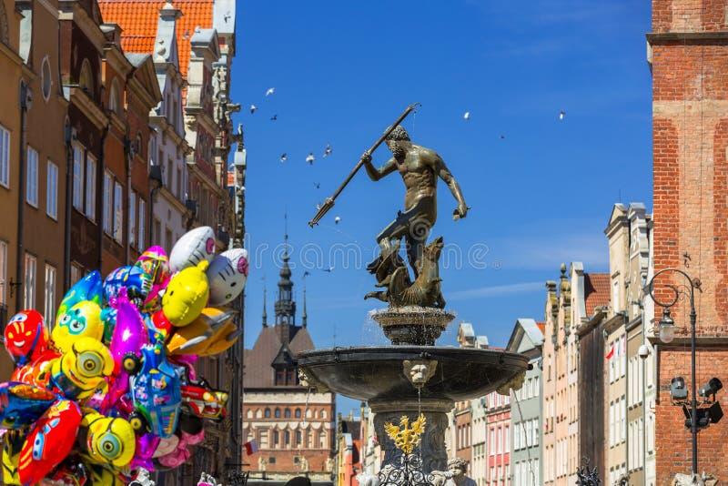 海王星的喷泉在格但斯克,波兰老镇  免版税库存照片