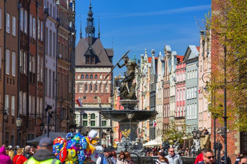 海王星的喷泉在格但斯克,波兰老镇  图库摄影