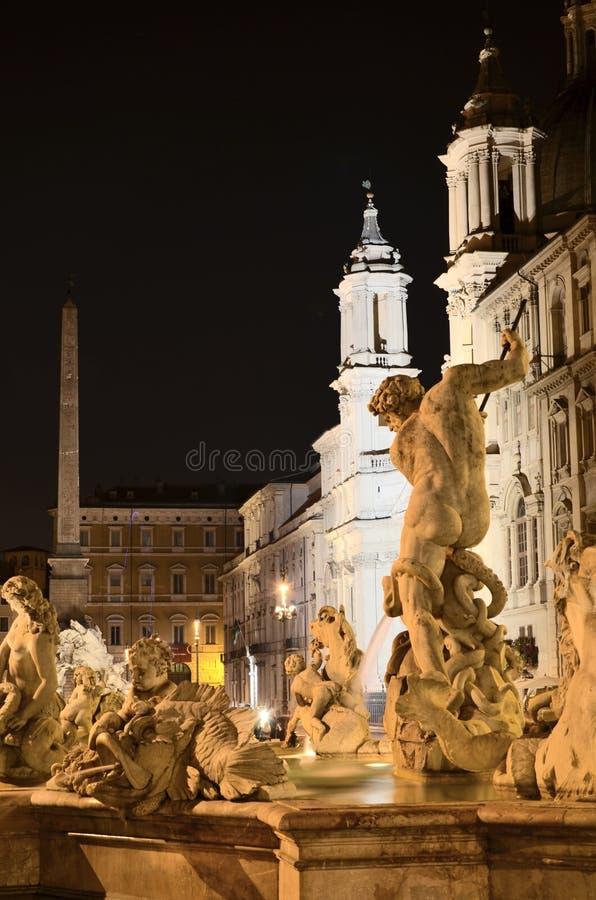 海王星美丽的喷泉在纳沃纳广场的在罗马,意大利 库存照片