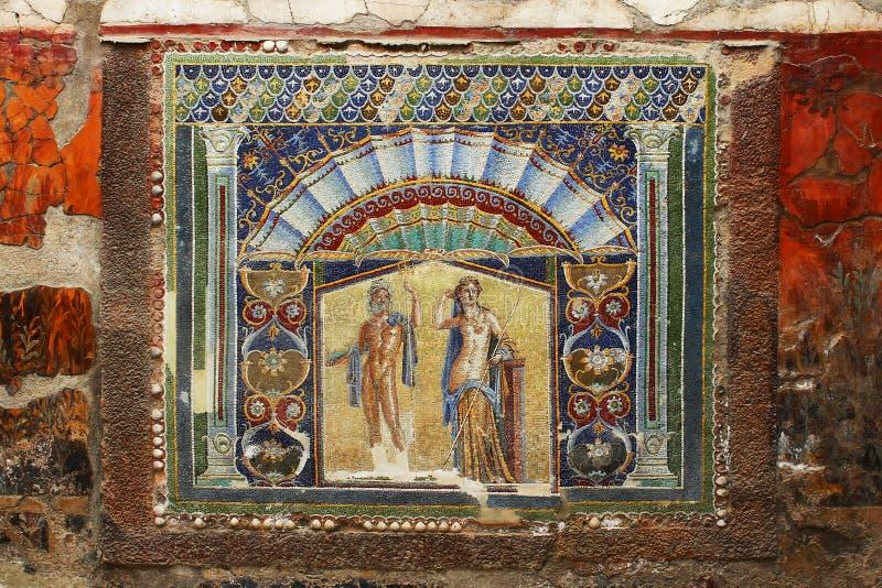 从海王星赫库兰尼姆壁画的美丽的古老马赛克  免版税图库摄影