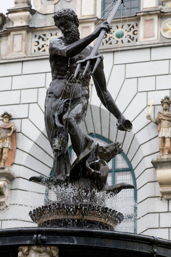 海王星雕塑在格但斯克,波兰。 免版税库存照片