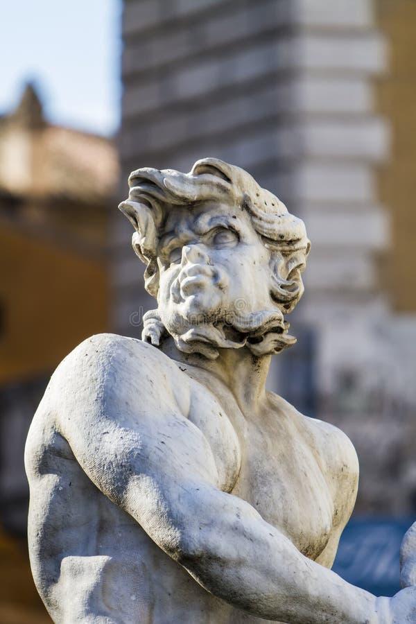 海王星,纳沃纳广场,罗马,意大利喷泉  库存照片