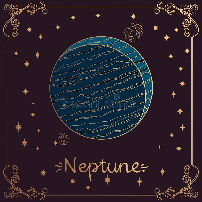 海王星 海王星的风格化例证在手工制造绘画风格的 占星术和天文的标志 皇族释放例证