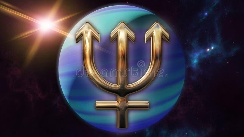 海王星黄道带占星标志和行星 3d翻译 向量例证