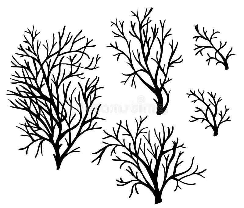 海珊瑚和海草黑剪影传染媒介隔绝了 皇族释放例证