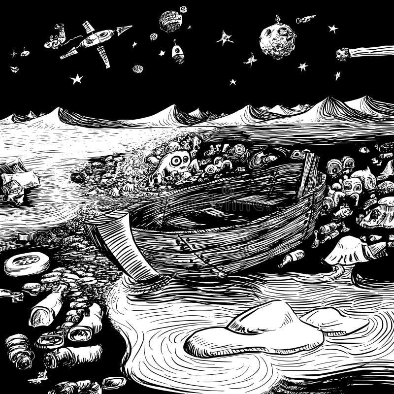 海生物-海生物的一个手拉的例证居住于被污染的海岸线的 向量例证
