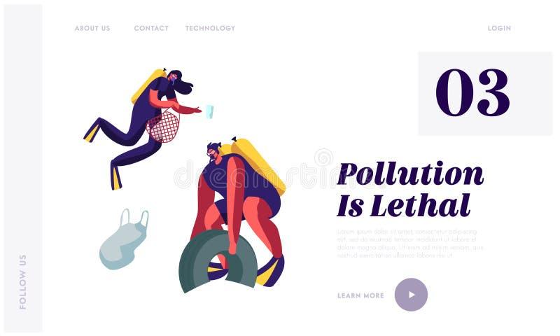 海的塑料污染有垃圾的 轻潜水员从海底收集垃圾和废物 生态保护概念 皇族释放例证