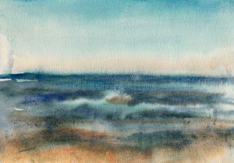 海的波浪的水彩剪影 免版税库存图片