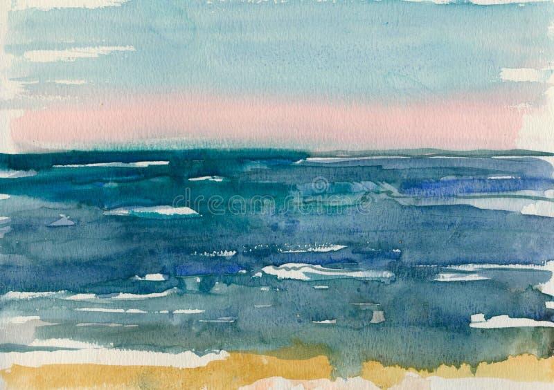 海的波浪的水彩剪影 免版税图库摄影