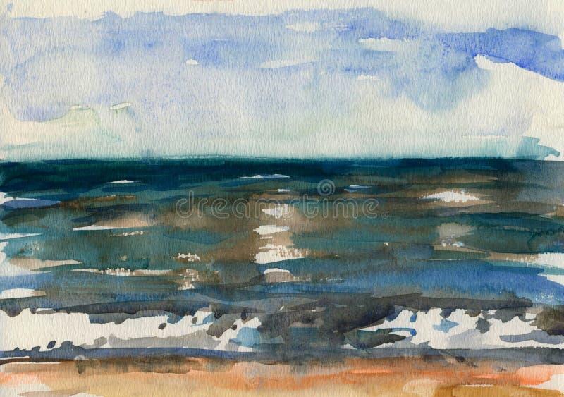 海的波浪的水彩剪影 库存图片