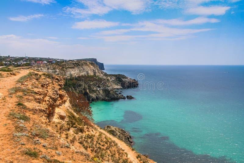 黑海的海岸在海角Fiolent附近的 库存照片