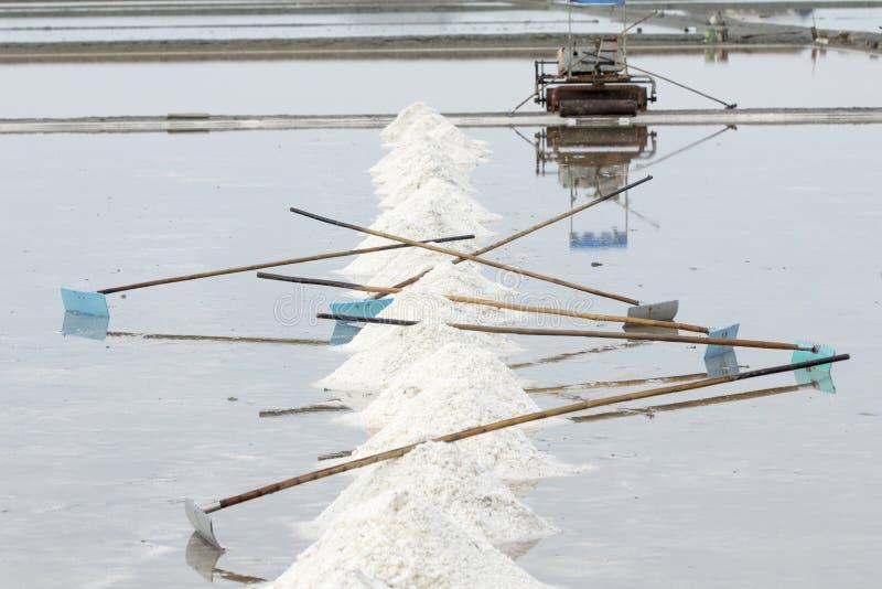 海盐蒸发池塘在Petchaburi,泰国 免版税图库摄影