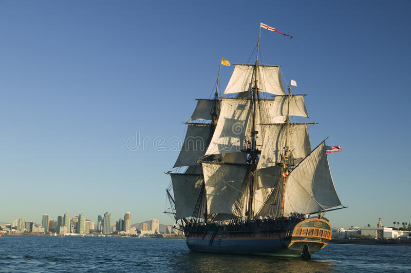海盗下风帆船 免版税库存照片