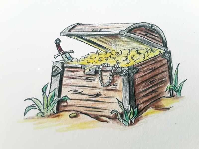 海盗与金子的宝物箱 库存例证