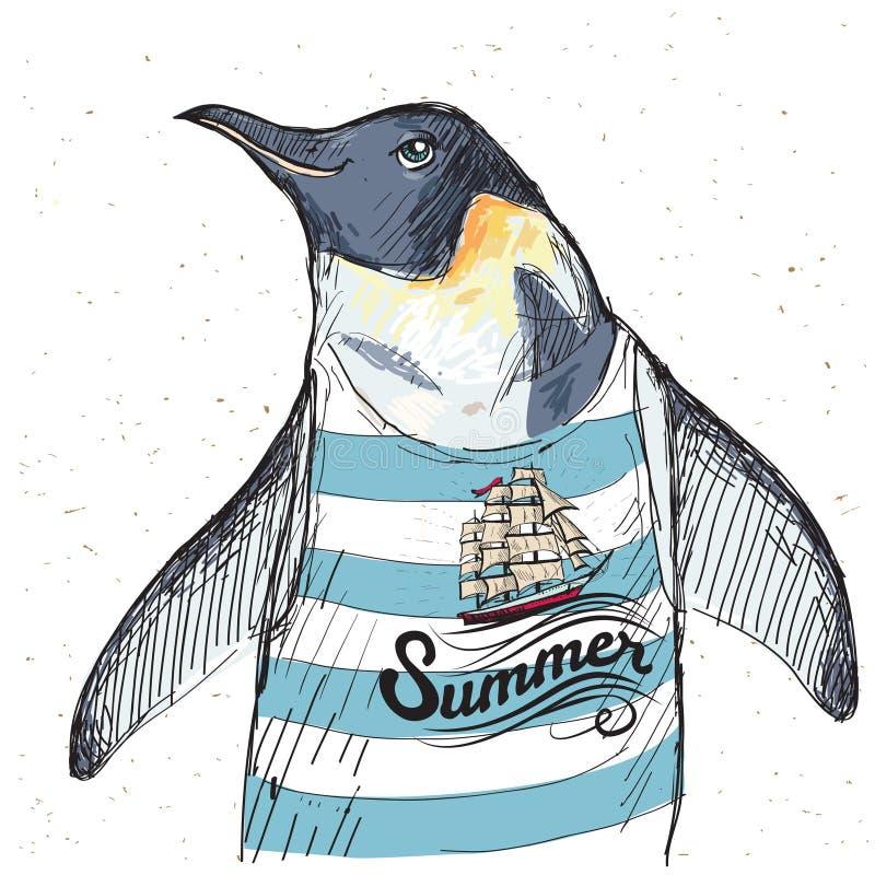 海盗企鹅的例证在织地不很细背景的在传染媒介 向量例证