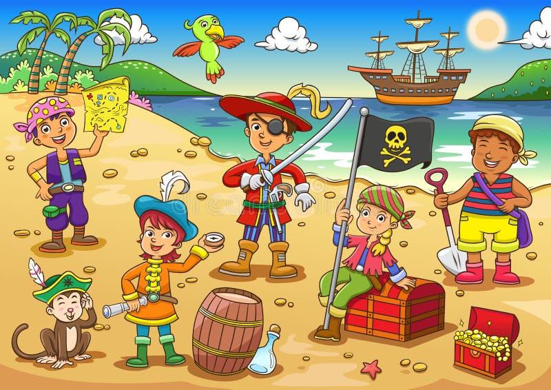 海盗儿童动画片的例证 向量例证