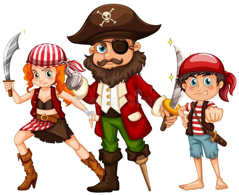 海盗和两个乘员组与武器 库存例证