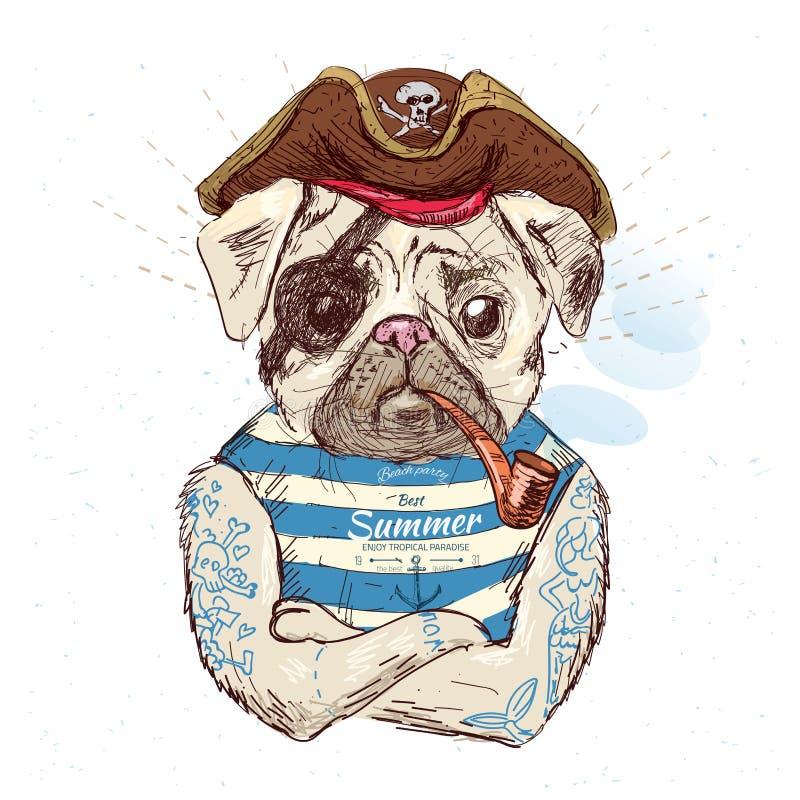 海盗哈巴狗狗的例证 在传染媒介eps10的蓝色背景 库存例证