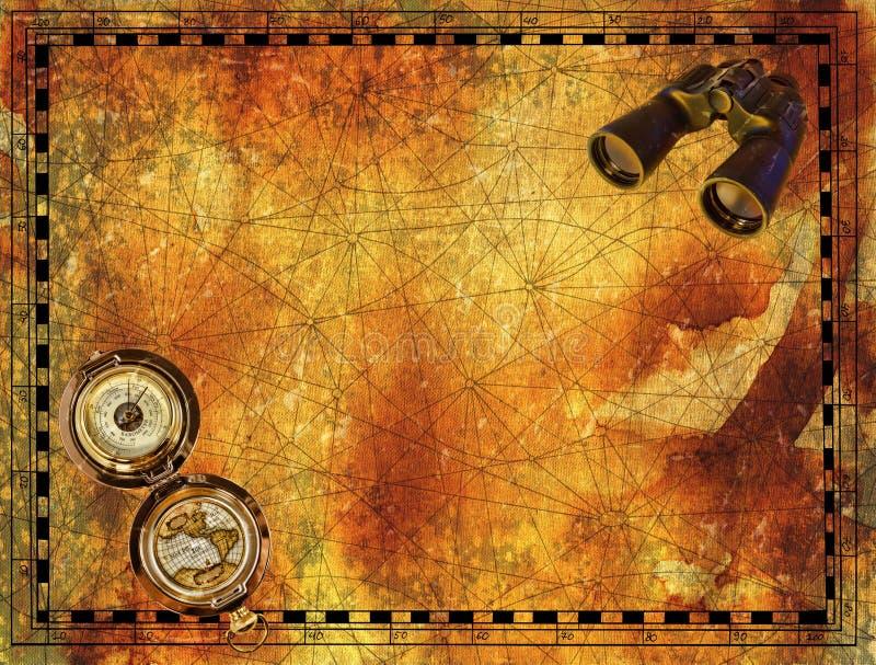 海盗地图的古老纸边界与双眼和指南针 向量例证