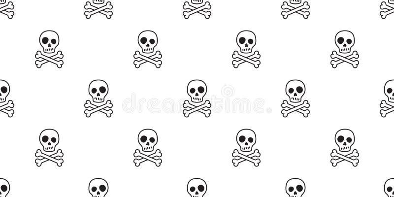 海盗头骨无缝的样式万圣夜两骨交叉图形骨头鬼魂毒物瓦片背景围巾隔绝了重复墙纸 库存例证