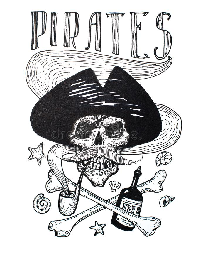 海盗属性构成黑白图画:头骨、髭、船锚、兰姆酒和骨头 库存例证