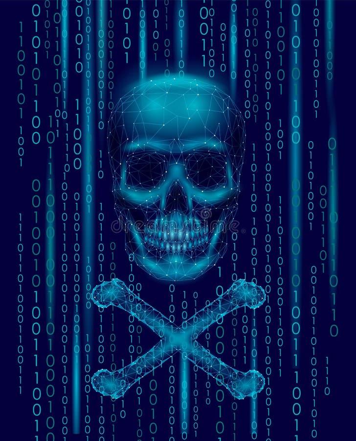 海盗旗头骨二进制编码数字 黑客海盗行为计算机网上攻击戒备 可怕警告乱砍的安全数据 皇族释放例证