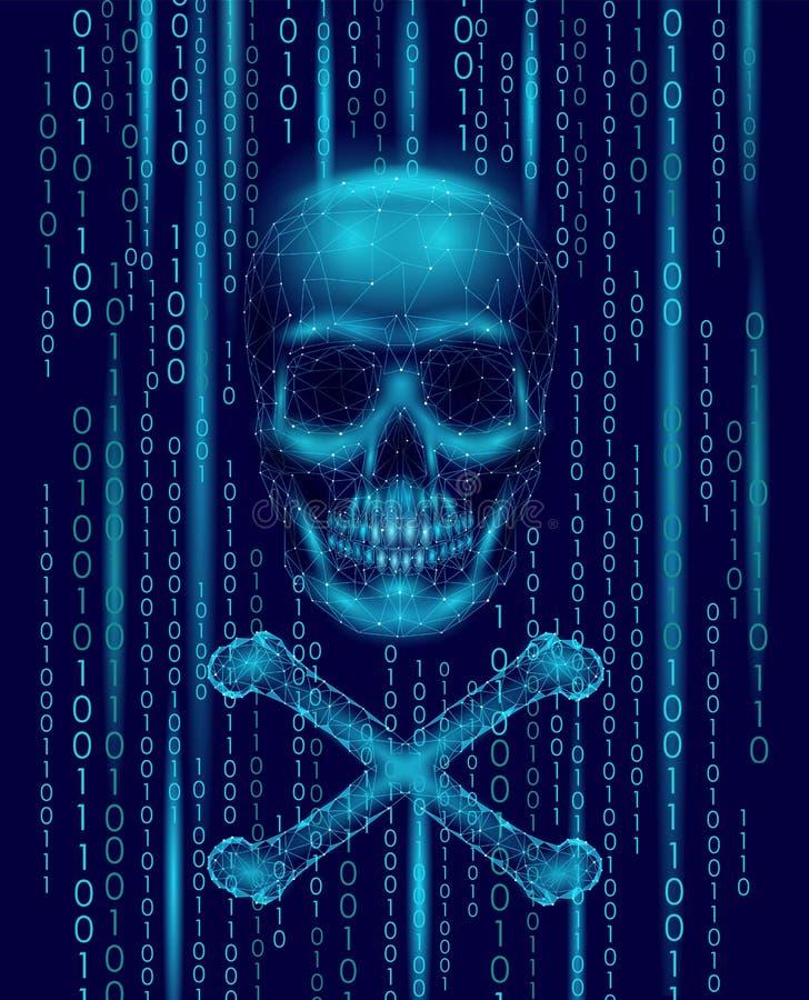 海盗旗头骨二进制编码数字 黑客海盗行为计算机网上攻击戒备 可怕警告乱砍的安全数据 库存例证