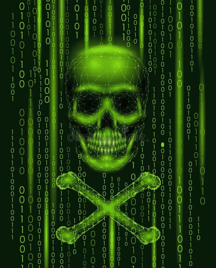 海盗旗头骨二进制编码数字 黑客海盗行为计算机网上攻击戒备 可怕警告乱砍的安全数据 向量例证