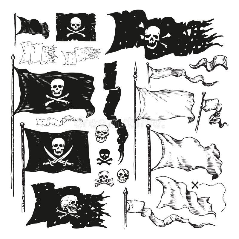 海盗旗子 向量例证