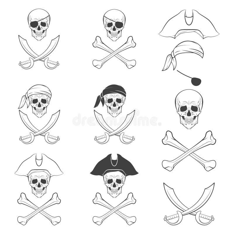 海盗旗用不同的版本 向量例证