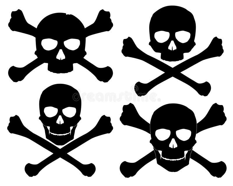 海盗旗的剪影 皇族释放例证