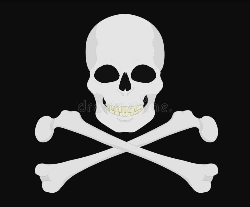 海盗旗 黑色两骨交叉图形编辑金头骨 库存例证