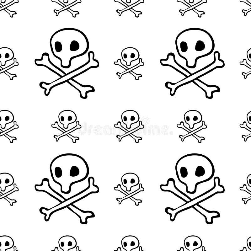 海盗无缝的样式,黑海盗旗上尉旗子背景墙纸,头骨反复性的滑稽的手画纹理和 库存例证