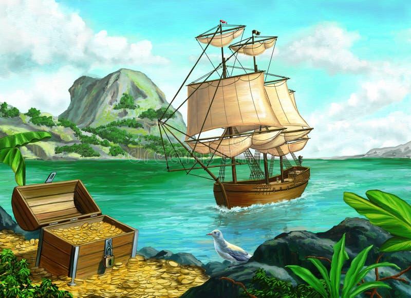 海盗海岛 向量例证