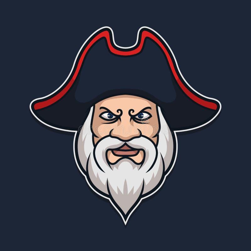 海盗海洋上尉Character Vector Illustration 库存照片
