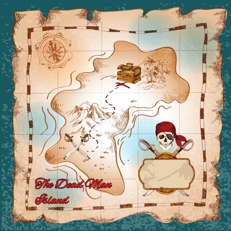 海盗珍宝地图 库存例证