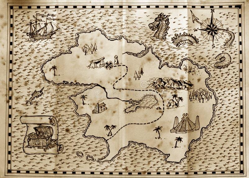 海盗珍宝地图 库存照片