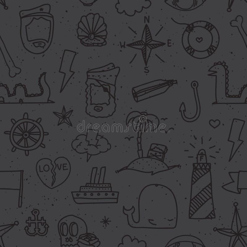 海盗纹身花刺无缝的传染媒介样式 库存例证