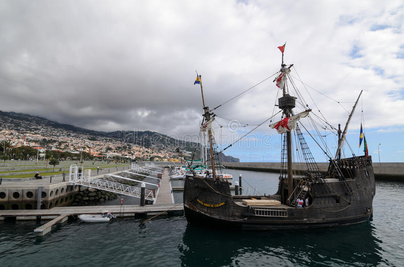 海盗船在马德拉岛 库存照片