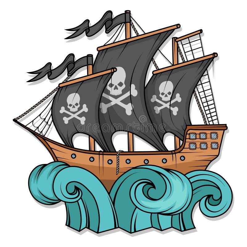 海盗船或小船例证,隔绝在白色背景,动画片海海盗船,海上的帆船 向量例证