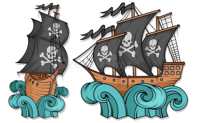 海盗船或小船例证,隔绝在白色背景,动画片海海盗船,海上的帆船 库存例证