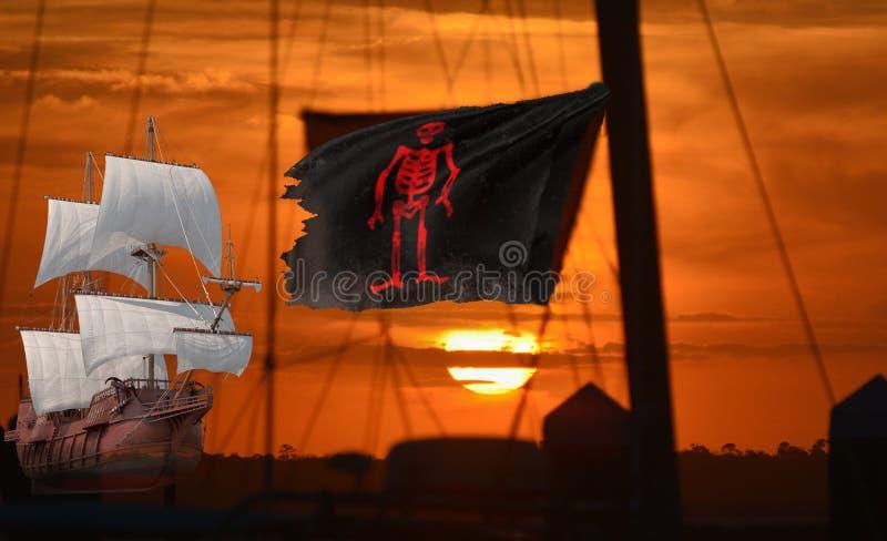 海盗船混合在与合法的商船的口岸 库存例证
