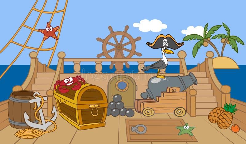 海盗船甲板 向量例证