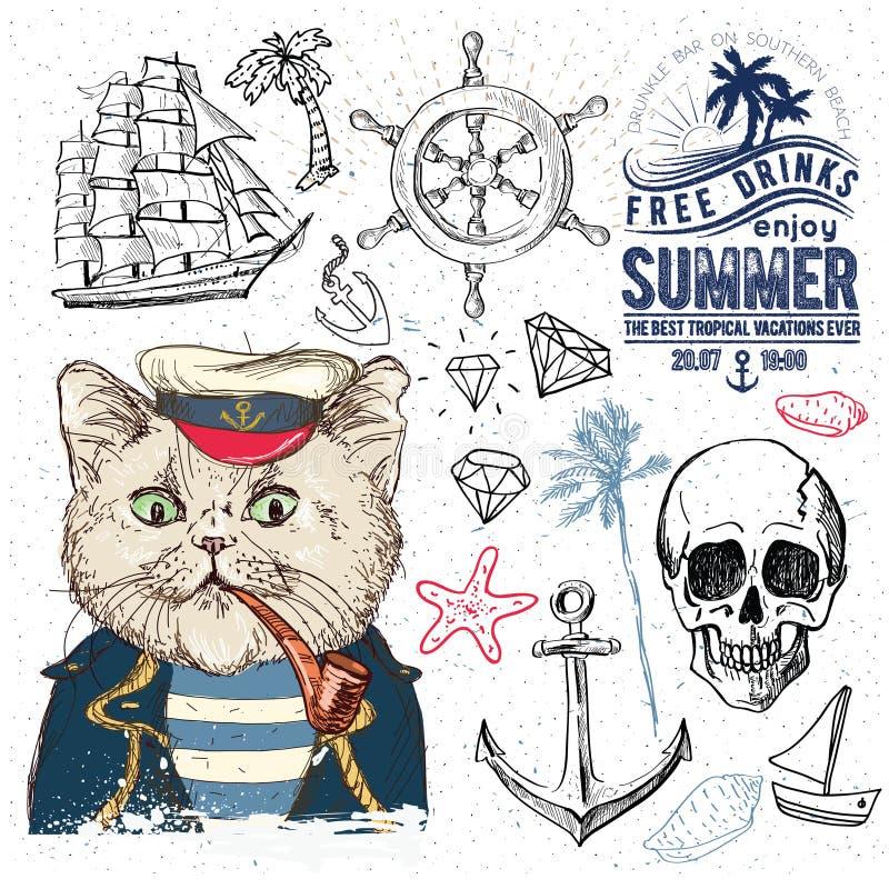 海盗被设置 拉长的现有量例证 库存例证